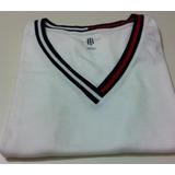 Tommy Hilfiger - Camiseta Gola V Com Listras- Branca