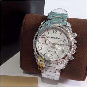 1e25fa31fd6 Relogio Mk Prata Strass - Relógios De Pulso no Mercado Livre Brasil