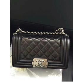 Bolsa Chanel Boy Mini Couro Lambiskin Silver Feminina