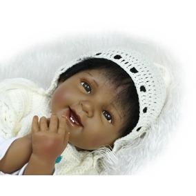 Bebe Reborn Super Realista Boneca Menina Negra 55 Cm+ Brinde