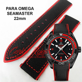 Extensible Negro Costuras Rojas 22mm Para Omega Seamaster