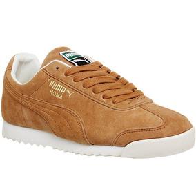 Original Tenis Puma Roma Sneakers Piel Gamuza Miel Y Blanco