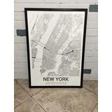 Cuadros 50x70 Mapas Nueva York Bs As Ciudades