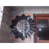 Hermoso Espejo De Sol Con Cristales Negros Estilo Antiguo.