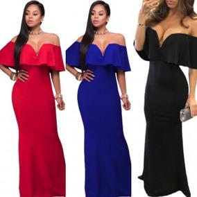 Vestido Azul Rey Rojo Negro Fiusha Sin Hombros Moderno Boda