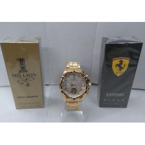 Kit Relógio Mascunino Dourado Aço Pesado + 2x Perfume Luxo
