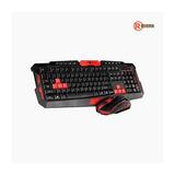Combo Gamer Teclado + Mouse Inalámbricos Night Stalker Rojo