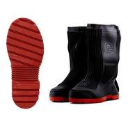 Cubrecalzado Tipo Bota De Hule Negro Suela Roja Cc