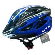 Capacete Azul Inn Mould Com Sinalizador Led Ciclismo Bike