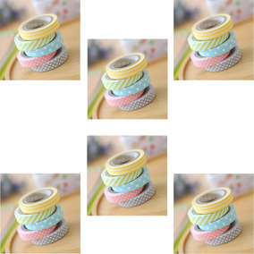 6 Kits Com 5 Rolos De Fita Washi Tape 5 Cores