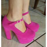 Sapatos De Boneca Feminino Salto Alto Plataforma