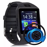 Relógio Celular Smartwatch Dz09 + Fone Sem Fio Bluetooth