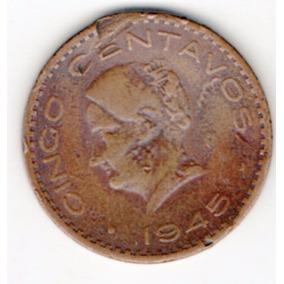 Moneda Antigua Cinco Centavos Cobre Josefa Grande 1945 A1 51