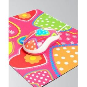 Kit Mouse E Mousepad Estampado Corações/rosa Usb - Kolke