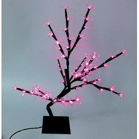 Arvore De Natal Cerejeira Rosa Com 60 Leds 45cm 127v