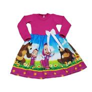 Vestido Infantil Masha E O Urso Manga Longa Inverno Fab2