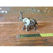 Bonita Figura Elefante De Bronce Incrustaciones Concha Nacar