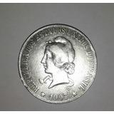Moneda Brasil 2000 Reis 1907. Plata