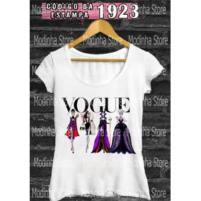 Camisetas Blusas Manga Curta Feminina Vilãs Disney Vogue