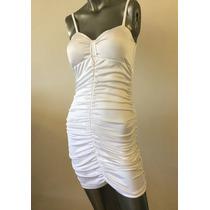 Vestido Corto Blanco Drapeado Elastizado Fiesta Gala Nuevo!