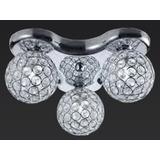 Plafon Lustre Sala Quarto C/3 Cupulas Em Cristal Bella Ho082