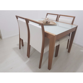 Conjunto De Madeira Maciça Com Vidro Laica + 4 Cadeiras