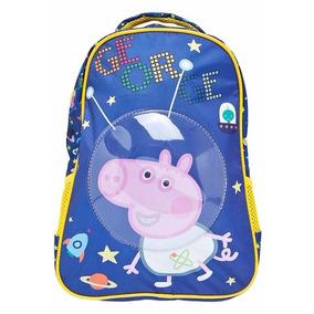 Mochila Infantil Escolar Peppa Pig George Azul