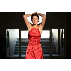 Vestido Corto De Raso Rojo Ideal Fiesta Boda
