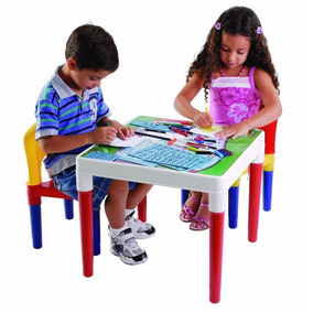 Mesa Mesinha Infantil Escolar Com Duas Cadeiras Bell Toy