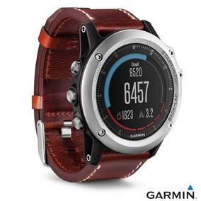Relógio Garmin Fênix 3 Prata Marrom 30 Mm Pulseira Couro