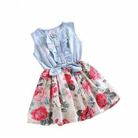 Vestido Infantil Jeans Com Estampa Floral.