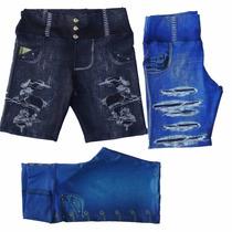 Bermuda Legging Jeans Plus Size Suplex Fitness Div Estampas
