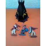 Lote X 3 Soldaditos Indios De Plastico Antiguos Carpa 03