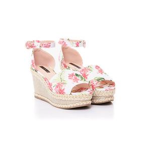 Sandalia De Mujer Via Uno 17271602 Tela Floral Blanco Y Rosa