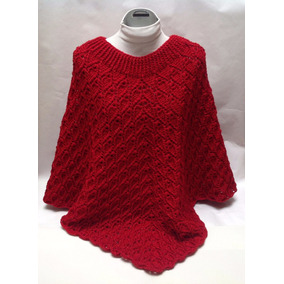 Capa Poncho Tejido A Crochet Color Rojo