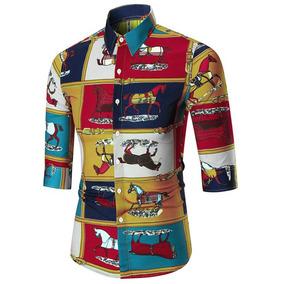 Animal Impresión Casual Botón Arriba Camisa
