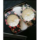 Relógio Floral Linda Peça Aço+caixa Metal Bompreço Exclusivo