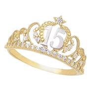Anillo Corona 15 Años Oro 10k - 686