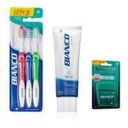 Combo 3 Escovas De Dente + Creme Dental Repair + Fio Dental