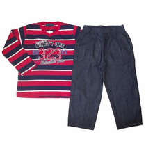 Conjunto Menino Camisa Listrada Com Calça Jeans