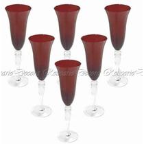 Jogo De Taças Para Champagne Em Cristal Vermelhas