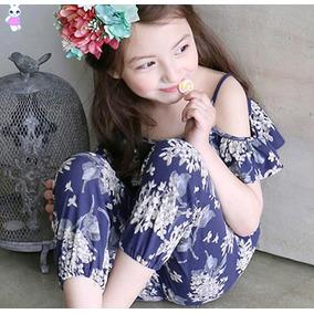 Jumper Para Niña Azul Floreado, Moda Asiática Ropa Dama