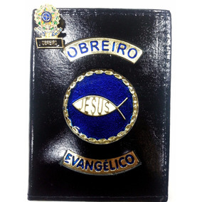 Carteira Em Couro P/ Obreiro Evangélico Brinde Pin Folheado