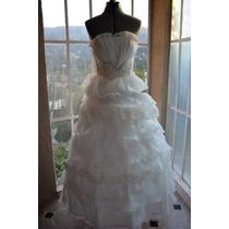 Vestido De Novia Con Holanes Strapless Marfil 30-32