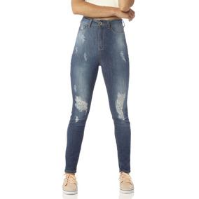Calça Feminina Skinny Cintura Alta Rasgos Denim Zero- Dz2420