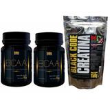 2 Bcaa Golden Nutrition 100 Cáps + Creatina Black Code 150g