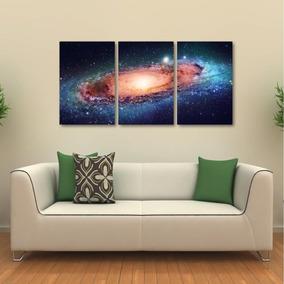 Quadro Decorativo Galáxias Universo Espaço Em Tecido 3 Peças