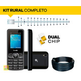 Kit Celular Rural Dual Chip Quadriband + Antena 15dbi + Cabo