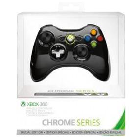 Controle Joystick Xbox 360 Chrome Preto Edição Limitada