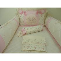 Kit Berço Floral Menina Rosa Com Marfim Delicado Ursinhas
